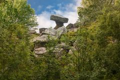 Druida Writing biurko przy Brimham skałami Fotografia Royalty Free
