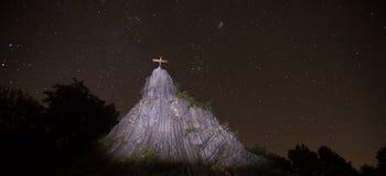 Druidenstein kamienni pobliscy kirchen Germany przy nocą Obrazy Royalty Free