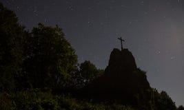 Druidenstein kamienni pobliscy kirchen Germany przy nocą Zdjęcia Royalty Free