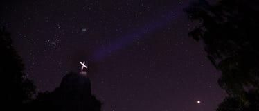 Druidenstein kamienni pobliscy kirchen Germany przy nocą Zdjęcia Stock