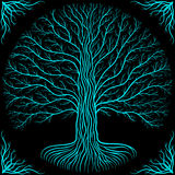 Druidic Yggdrasil tree at night, round silhouette, black and blue logo. Gothic ancient book style. Druidic Yggdrasil tree at night, round silhouette, black and Royalty Free Stock Images