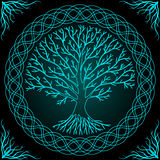 Druidic Yggdrasil tree at night, round silhouette, black and blue logo. Gothic ancient book style. Druidic Yggdrasil tree at night, round silhouette, black and Stock Photos