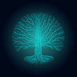 Druidic Yggdrasil tree at night, round silhouette, black and blue logo. Gothic ancient book style Stock Photos