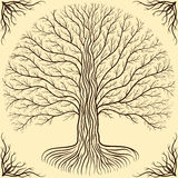 Druidic Yggdrasil tree at night, round silhouette, cream and brown logo. Gothic ancient book style. Druidic Yggdrasil tree at night, round silhouette, cream and Stock Photography