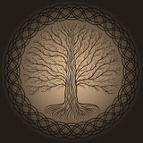 Druidic Yggdrasil tree, round, brown logo. Gothic ancient book style. Druidic Yggdrasil tree at night, round silhouette, cream and brown vector logo. Gothic Royalty Free Stock Photography