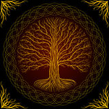 Druidic Yggdrasil tree, round dark gothic logo. ancient book style.  Royalty Free Stock Images