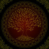 Druidic Yggdrasil tree, round dark gothic logo. ancient book style.  Royalty Free Stock Image