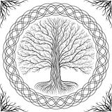 Druidic Yggdrasil tree, round gothic logo. ancient book style. Druidic Yggdrasil tree, round black and white gothic logo. ancient book style Stock Photography