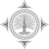 Druidic Yggdrasil tree, round gothic logo. ancient book style. Druidic Yggdrasil tree, round black and white gothic logo. ancient book style Royalty Free Stock Photo