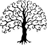 Druidic Yggdrasil tree, round gothic logo. Halloween style vector silhouette. Druidic Yggdrasil tree, round gothic logo. Halloween style black and white vector Stock Photo