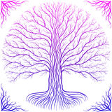 Druidic Yggdrasil tree, round silhouette, pink and purple logo Royalty Free Stock Photos