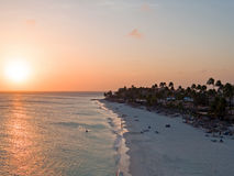 Druif beach on Aruba island in the Caribbean at sunset Stock Photography