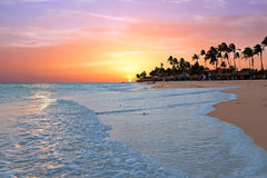 Druif beach at sunset on Aruba island in the Caribbean. Sea Royalty Free Stock Photo