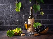 Druif, fles en glas witte wijn stock afbeelding