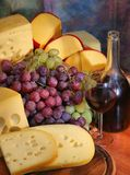 Druif, kaas, wijn Royalty-vrije Stock Foto's