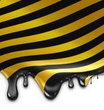 Druipende gestreepte zwarte gele verf Royalty-vrije Stock Foto