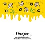 Druipende kleurrijke pizzaachtergrond vector illustratie