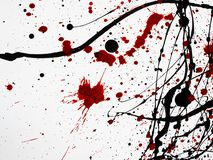 Druipende zwarte rode die verf op witte achtergrond wordt geïsoleerd gelijkaardig aan bloed Stromende stookolieplonsen, dalingen stock illustratie