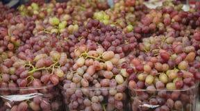 Druiven Bossen van groene druiven Druiven op een markt van de dienbladlandbouw Royalty-vrije Stock Afbeeldingen