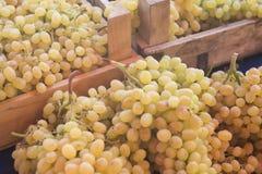Druiven Bossen van groene druiven Druiven op een markt van de dienbladlandbouw Stock Foto's