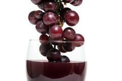 Druiven die in rode wijn worden ondergedompeld stock foto