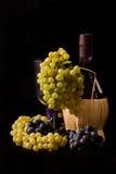Druiven en Fles Royalty-vrije Stock Foto