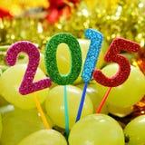 Druiven en het aantal 2015, als nieuw jaar Stock Afbeelding