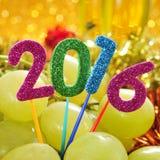 Druiven en het aantal 2016, als nieuw jaar Royalty-vrije Stock Afbeelding