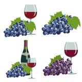 Druiven en rode wijn Royalty-vrije Stock Afbeeldingen