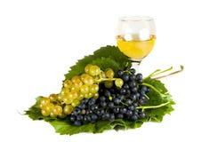 Druiven en wijn die op wit worden geïsoleerdk stock afbeeldingen