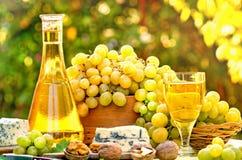 Druiven en witte wijn Stock Afbeelding