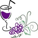 Druiven met een glas Royalty-vrije Stock Afbeelding