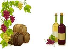 Druiven, vaten en flessenwijnen Stock Fotografie