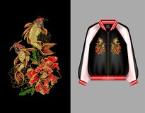 Druk dla bombowiec lub swisshot z broderią Japoński karpiowy koja i peonia kwitnie ilustracja wektor