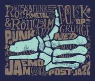 Druk dla koszulki przeciw tła czerń ognistej gitary muzyki skale grunge również zwrócić corel ilustracji wektora Zdjęcie Stock