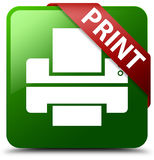 Druk drukarki ikony zieleni kwadrata guzik Zdjęcie Royalty Free