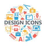Druk en grafische ontwerppictogrammen Royalty-vrije Stock Foto