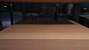 Druk gevormde keramische tegel, patroon op keramische tegels Industrieel binnenland, indors stock video