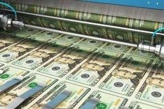 Druk het geldbankbiljetten van 20 Amerikaanse dollarsusd royalty-vrije illustratie