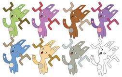 Druk kreskówki doodle kolor ustawia potwór ręki remis szczęśliwego cześć ilustracja wektor