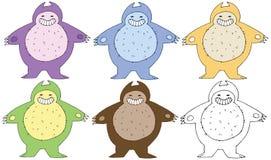 Druk kreskówki doodle koloru grubego potwora ręki szczęśliwy śmieszny remis royalty ilustracja