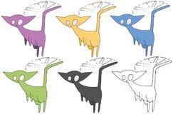 Druk kreskówki doodle kota potwora ręki śmiesznego remisu ustalony kolor ilustracji