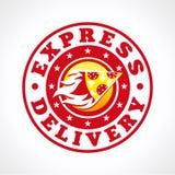Druk leveringspizza uit Stock Foto's