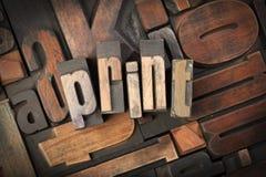 Druk met antiek letterzetseltype dat wordt geschreven Stock Foto's