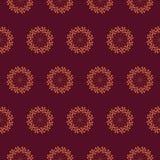 Druk Naadloos Patroon Mandala Flowers met kersenachtergrond stock illustratie
