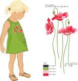 Druk rood papavers en patroonmeisje in sundress Stock Fotografie