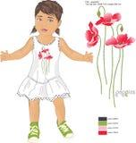 Druk rood papavers en patroonmeisje in sundress Stock Afbeelding