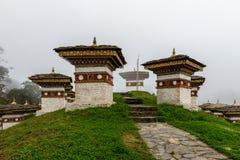 Druk se débrouillent pour avoir Chorten, Punakha province le Bhutan en septembre 2015 Image libre de droits