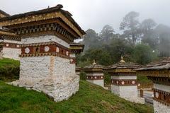 Druk se débrouillent pour avoir Chorten, Punakha province le Bhutan en septembre 2015 Images stock