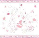Druk twee grappige hazen en hert vectorillustraties voor kinderen Stock Afbeelding